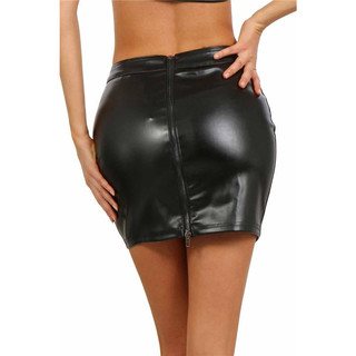 Sexy womens clubwear miniskirt made of faux leather zip black