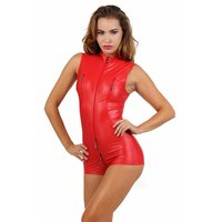 Sexy Damen Wetlook Bodysuit mit Zipper Stripper Clubwear Rot