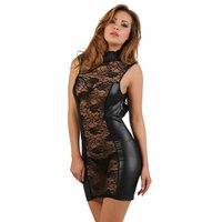 Transparent clubwear minidress with lace wet look black