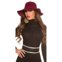 Elegant ladies floppy hat with decorative hatband wine-red