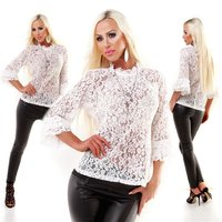 Elegant womens  tunic shirt made of lace creme-white