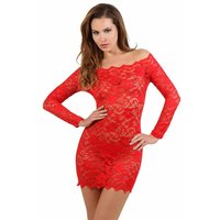 Transparent lace minidress negligee clubwear black