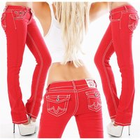 Trendy womens low rise jeans with contrast stitching red
