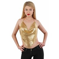 Bauchfreies Neckholder Damen Metalltop Party Clubwear Gold