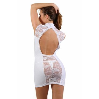 Transparent clubwear minidress with lace wet look white