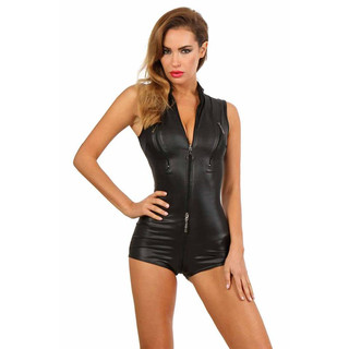Sexy Damen Wetlook Bodysuit mit Zipper Stripper Clubwear Schwarz