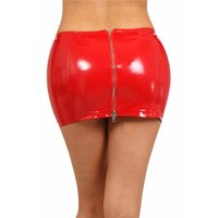 Sexy Damen Vinyl-Minirock mit Zipper Latex-Look Clubwear...
