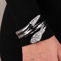 Womens party armlet bracelet with rhinestones silver