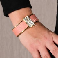 Womens armlet bracelet rhinestones gold/antique pink