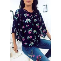 Sweet womens chiffon blouse shirt with floral pattern...