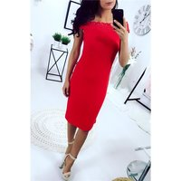 Elegant knee-length rib-knitted dress in Carmen style red...
