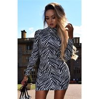 Sexy womens high-necked bodycon minidress animal print zebra