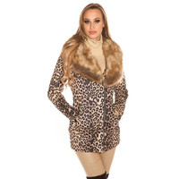 Noble womens short coat with animal print and fake fur...