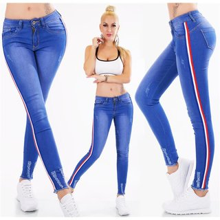 54c552304a Skinny womens stretch drainpipe jeans with side stripes blue