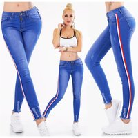 Skinny womens stretch drainpipe jeans with side stripes blue