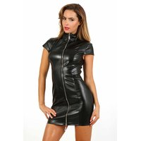 Sexy womens club minidress made of faux leather zipper black