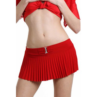 Ultrashort womens pleated miniskirt gogo clubwear red