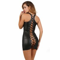 Sexy Damen Club Minikleid Wetlook mit Schnürung Gogo...
