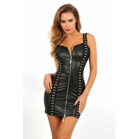 Sexy Damen Clubwear Minikleid mit Zipper Wetlook Schwarz...