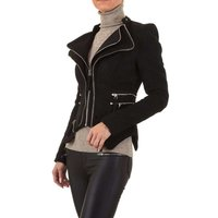 Slim-fit womens sweat blazer jacket with zipper black