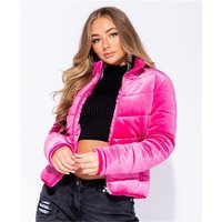 Quilted womens puffer jacket made of velvet fuchsia