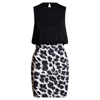 Ärmelloses Damen Bi-Color Minikleid Animalprint Schwarz/Weiß