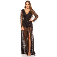 Glamorous party playsuit made of chiffon with sequins black