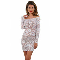 Transparent lace minidress negligee clubwear white