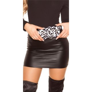 Trendy womens belt bag with animal print leopard white