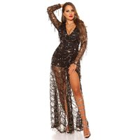 Glamorous party playsuit made of chiffon with sequins...