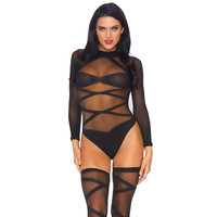 Sexy 2-tlg Damen Dessous-Set Body + Strümpfe Gogo Club...
