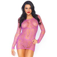 Sexy womens fishnet minidress gogo clubwear purple