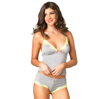 Sweet womens 2 pcs cami set top panty with lace grey/yellow