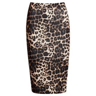 Elegant womens pencil skirt with animal print leopard brown  UK 10 (S)