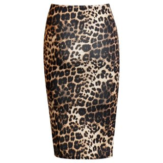 Elegant womens pencil skirt with animal print leopard brown  UK 12 (M)