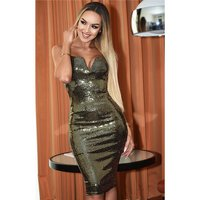 Sequined knee-length womens glamour evening dress gold