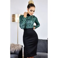 Womens business pencil dress animal print leopard...