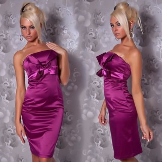 SEXY STRAPLESS SATIN SHEATH DRESS COCKTAIL DRESS VIOLET
