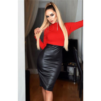 Elegantes Damen Business Bleistiftkleid Wetlook Schwarz/Rot