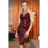 Sequined knee-length womens glamour evening dress dark red