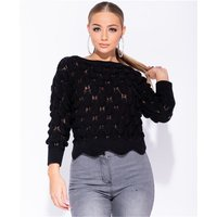 Knitted womens sweater pullover with scallop hem black