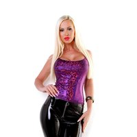 Glittering womens party strappy top with hologram violet...