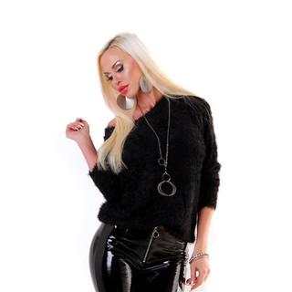 3ab22dfc5b5ea0 Damen Kuschelpullover aus flauschig weichem Effektgarn Schwarz ...