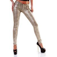 Womens animal print drainpipe pants metalic reptile look...