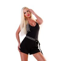 Womens cloth shorts with rhinestones and belt black