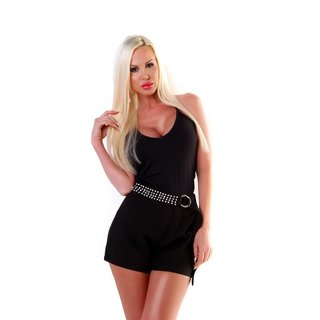 Womens cloth shorts with rhinestones and belt black UK 14 (L)