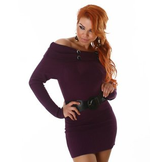 ELEGANT KNITTED MINIDRESS WITH BELT PURPLE