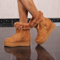 Lined womens winter shoes ankle boots with faux fur...