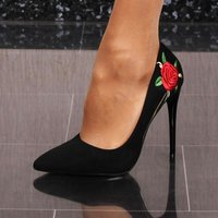 Elegant womens high heel court shoes with flowers black
