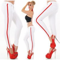 Skinny womens drainpipe jeans with side stripes white UK...